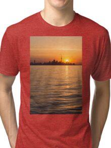Toronto Skyline - Greeting a Brilliant Summer Sunrise Tri-blend T-Shirt