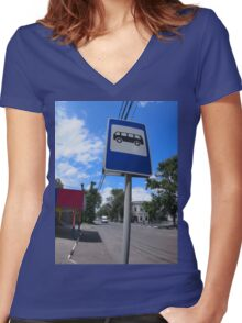 Road sign with a picture of a bus stop on a city street Women's Fitted V-Neck T-Shirt