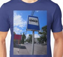 Road sign with a picture of a bus stop on a city street Unisex T-Shirt