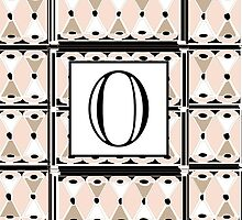 1920s Pink Champagne Gatsby Monogram letter O by CecelyBloom
