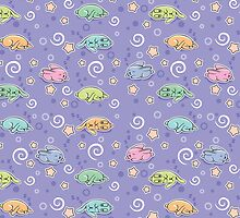 Seamless pattern with sleeping rabbits by yulia-rb