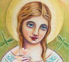 Angel with a Dogwood Flower by Lana Wynne