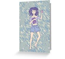Young girl sleeping on the grass Greeting Card