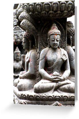 Buddhas at Swayambhunath by Maggie Woods