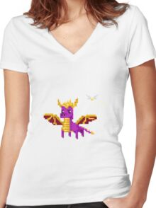 Spyro & Sparx Pixel Women's Fitted V-Neck T-Shirt