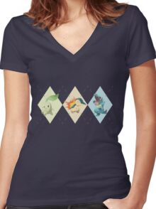 Pokemon Low Poly - 2nd Gen Starters Women's Fitted V-Neck T-Shirt