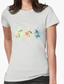 Pokemon Low Poly - 2nd Gen Starters Womens Fitted T-Shirt