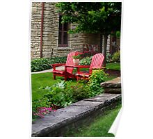 Inviting Wooden Chairs in Nice Yard Poster
