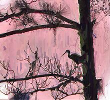 Painted Silhouette of a Great Egret by Rosalie Scanlon