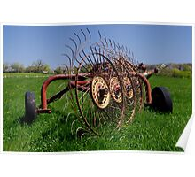 Antique Rustic Farm Implement in a Field Poster