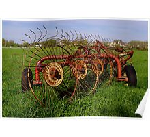 Antique Rustic Farm Implement in a Field 2 Poster