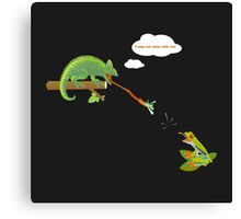 Today not mess with me! Tree frog and chameleon green Canvas Print