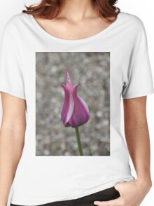 An Elegant Vibrant Pink Tulip in a Pebble Garden Women's Relaxed Fit T-Shirt