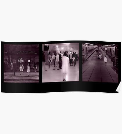 Woman Gathering Silence: Triptych Poster