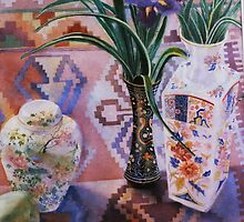 Apples, Vases and Persian Rug by Celeste Schor