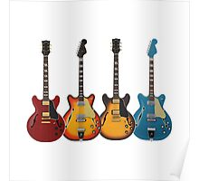 Four Hollow Body Guitars Poster