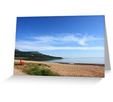 Red bench, Brodick beach, Arran Greeting Card