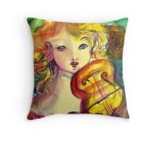 VIOLINIST GIRL ,VIOLIN  AND CAT  Throw Pillow