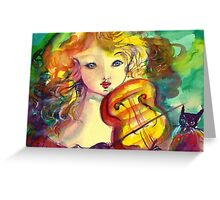VIOLINIST GIRL ,VIOLIN  AND CAT  Greeting Card