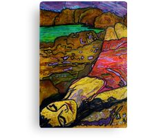 She's All Washed Up -(Printmaking and TEXTA) Canvas Print