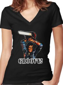 Evil Dead Ash - Groovy! Women's Fitted V-Neck T-Shirt