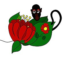 Lovely little monkey with flower Photographic Print