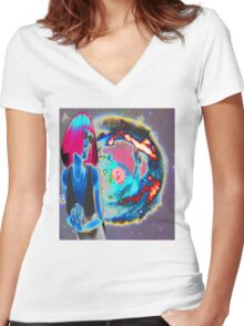 PSYCHEDELIC COSMIC WONDER Women's Fitted V-Neck T-Shirt