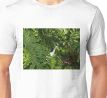 Hawaiian Garden Visitor - a Bright White Egret in the Lush Greenery Unisex T-Shirt