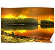 'Blaze on Trout lake', Pemberton, WA Poster