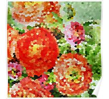 Abstract Red and Pink Flowers Poster