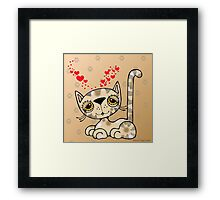 Kitten with Hearts Framed Print