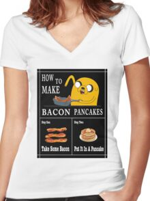 How To: Bacon Pancakes Women's Fitted V-Neck T-Shirt