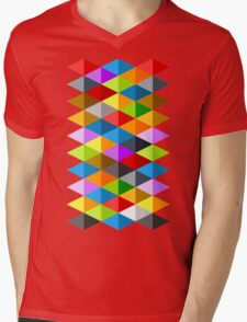 Modern funky colorful triangles pattern Mens V-Neck T-Shirt