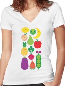 5 A Day Fruit & Vegetables Women's Fitted V-Neck T-Shirt