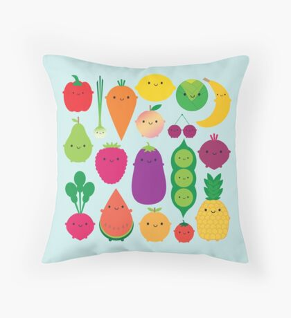 5 A Day Fruit & Vegetables Throw Pillow
