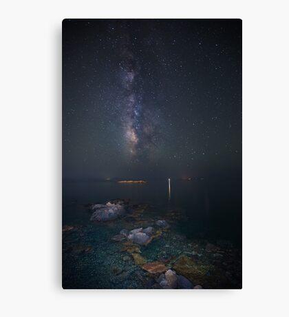 Milky way at a rocky sea coast in Syros island, Greece VER.II Canvas Print