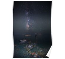 Milky way at a rocky sea coast in Syros island, Greece VER.II Poster