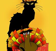 Thanksgiving Le Chat Noir With Turkey Pilgrim by Gravityx9