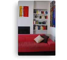 Living Room - Coloured Books. Canvas Print