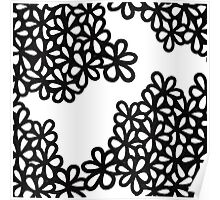 White and Black Flower Petals Poster