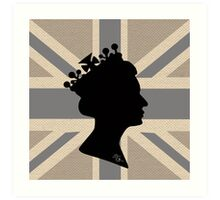 GOD SAVE THE QUEEN! (GREY) Art Print