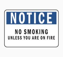 Notice no smoking unless you are on fire by funnyshirts