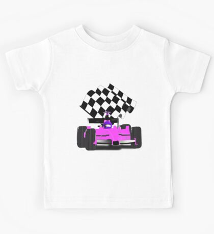 Pink Race Car with Checkered Flag Kids Tee
