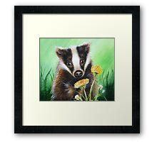 Badger in the Dandelions Framed Print