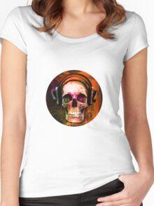 Music Skull Women's Fitted Scoop T-Shirt