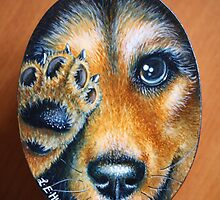 Happy Paws painted on a small box using Acrylic paint by Louise Elisabeth Hunt