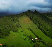 Lonely houses in mountains, Romania, Transylvania Region by Antanas