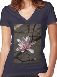 Sunny Pink Magnolia Blossom Women's Fitted V-Neck T-Shirt