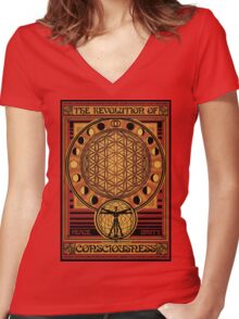 The Revolution of Consciousness | Vintage Propaganda Poster Women's Fitted V-Neck T-Shirt
