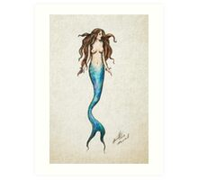 Hand Drawn Mermaid Art Print